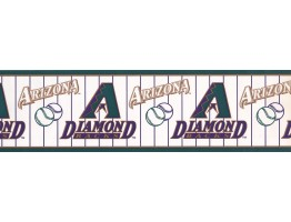 Green Baseball Stripe Wallpaper Border