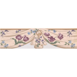7 in x 15 ft Prepasted Wallpaper Borders - Pink Blue Flowers mesh Wall Paper Border