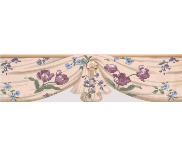 Garden Wallpaper Borders: Pink Blue Flowers mesh Wallpaper Border