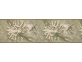 Gold Green Stone Sun Wallpaper Border