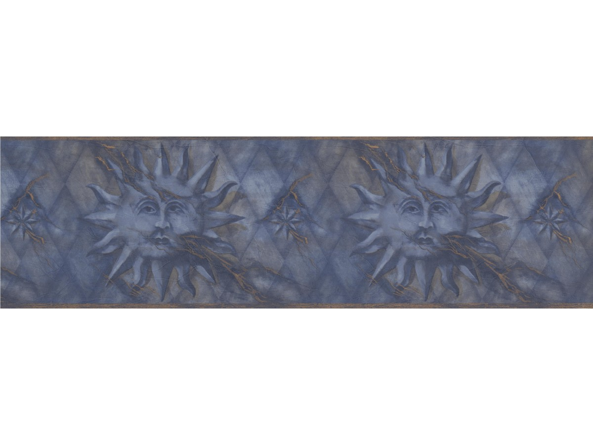 Prepasted Wallpaper Borders Navy Gold Diamond Sun Face Wall Paper Border