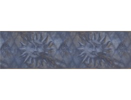 Prepasted Wallpaper Borders - Navy Gold Diamond Sun Face Wall Paper Border