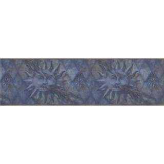 6 1/2 in x 15 ft Prepasted Wallpaper Borders - Navy Gold Diamond Sun Face Wall Paper Border