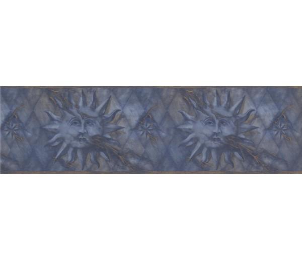 Sun Moon Stars Borders Navy Gold Diamond Sun Face Wallpaper Border York Wallcoverings