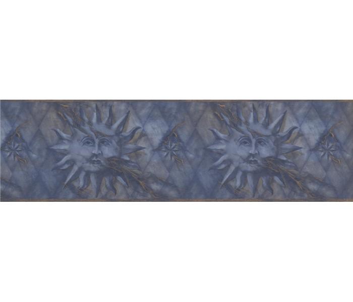 Sun Moon Stars Wall Borders: Navy Gold Diamond Sun Face Wallpaper Border