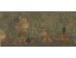 Prepasted Wallpaper Borders - Grape Vase Kitchen Wall Paper Border