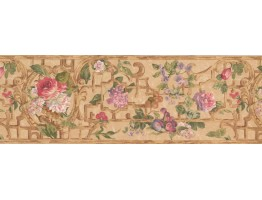 Prepasted Wallpaper Borders - Pink Purple Flower Floral Wall Paper Border