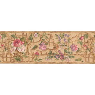8 in x 15 ft Prepasted Wallpaper Borders - Pink Purple Flower Floral Wall Paper Border