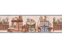 Prepasted Wallpaper Borders - Pink Kitchen Items Wardrode Wall Paper Border