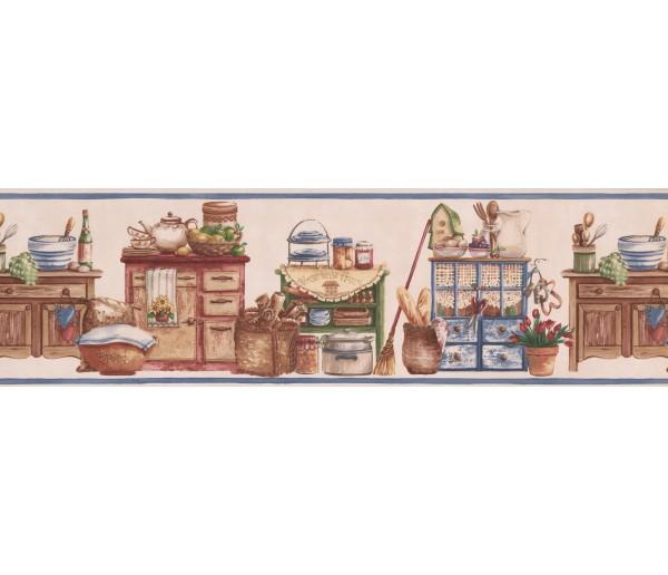 Kitchen Wallpaper Borders: Pink Kitchen Items Wardrode Wallpaper Border