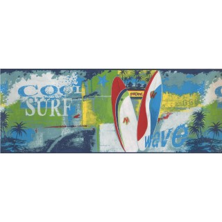 9 in x 15 ft Prepasted Wallpaper Borders - Pacific Skating Boards Wall Paper Border