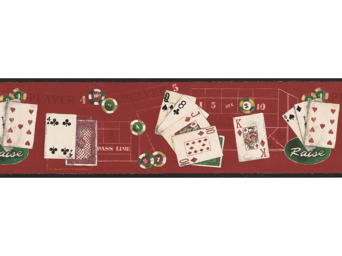 Black Red Poker Cards Wallpaper Border