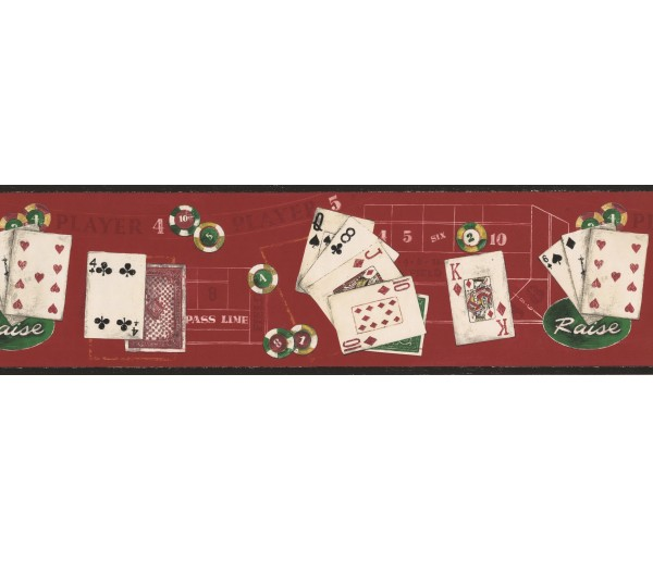 Prepasted Wallpaper Borders - Black Red Poker Cards Wall Paper Border