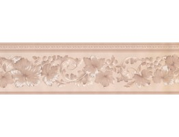 Prepasted Wallpaper Borders - Floral Beige Wall Paper Border 92234