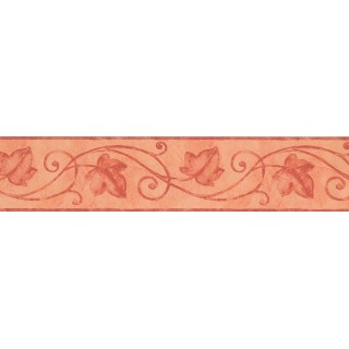5 in x 15 ft Prepasted Wallpaper Borders - Pink Palm Leaf Wall Paper Border