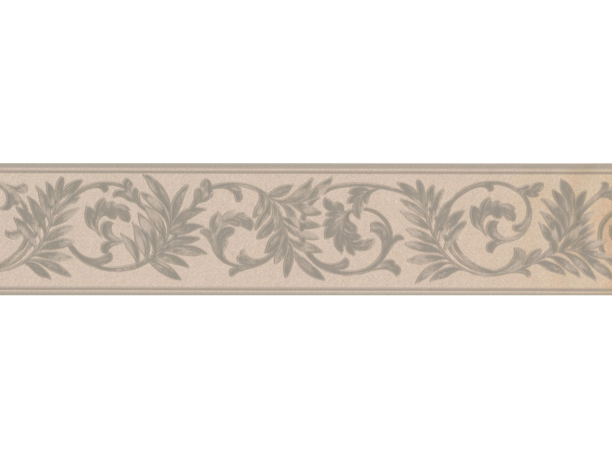 White Green Running Floral Wallpaper Border