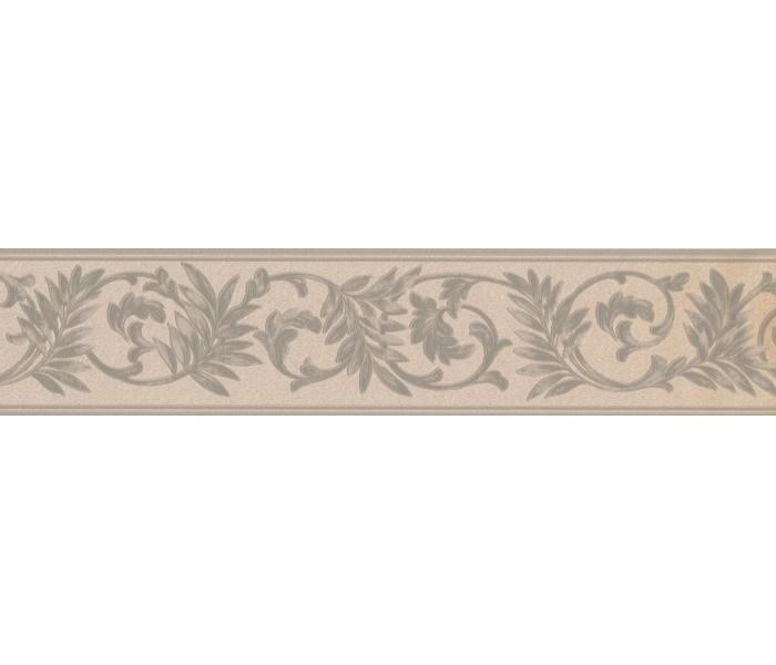 Vintage Wallpaper Borders: White Green Running Floral Wallpaper Border