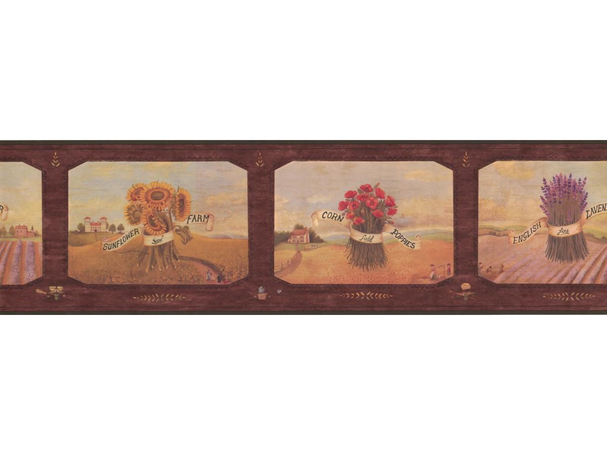 Prepasted Wallpaper Borders Framed Sunflower Farm Wall Paper Border