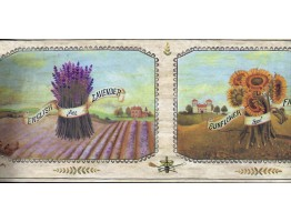 Prepasted Wallpaper Borders - Framed English Lavender Farm Wall Paper Border