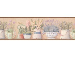 Prepasted Wallpaper Borders - Kitchen Flowers Wall Paper Border 08013AAI