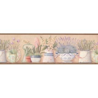 7 in x 15 ft Prepasted Wallpaper Borders - Kitchen Flowers Wall Paper Border 08013AAI