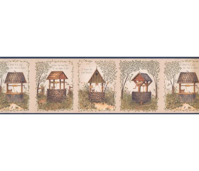 Lodge Wallpaper Borders: Garden Stone Well Wallpaper Border 08041AAI