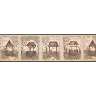 7 in x 15 ft Prepasted Wallpaper Borders - Green Garden Stone WellWall Paper Border