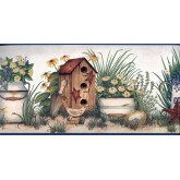 Bird Houses Wallpaper Borders: Garden Bird House Wallpaper Border