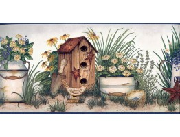 7 in x 15 ft Prepasted Wallpaper Borders - Garden Bird House Wall Paper Border