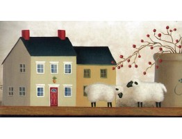 7 in x 15 ft Prepasted Wallpaper Borders - Country Sheep House Wall Paper Border