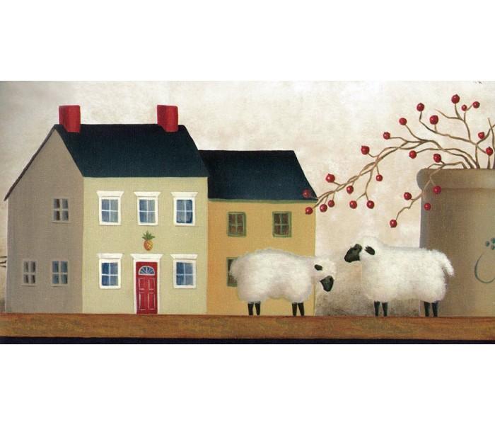 City Wallpaper Borders: Country Sheep House Wallpaper Border