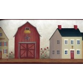 Clearance: Red White City Building Wallpaper Border