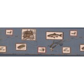 Fishing Wallpaper Borders: Blue Framed Fishing Tools Wallpaper Border