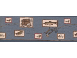 Prepasted Wallpaper Borders - Blue Framed Fishing Tools Wall Paper Border