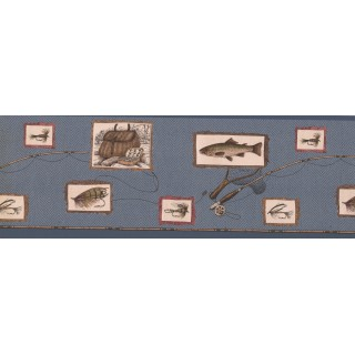 8 1/2 in x 15 ft Prepasted Wallpaper Borders - Blue Framed Fishing Tools Wall Paper Border