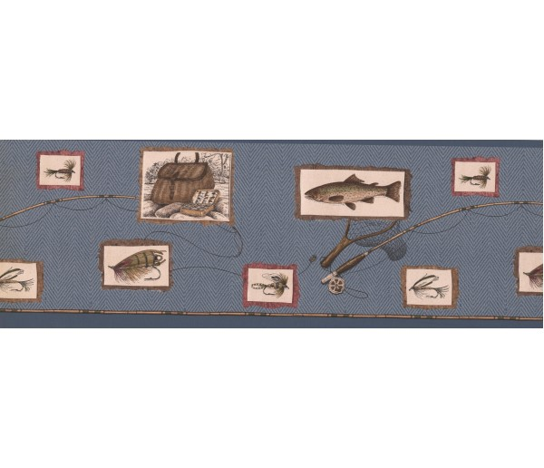 Fishing Wallpaper Borders: Blue Framed Fishing Tools Wallpaper Border