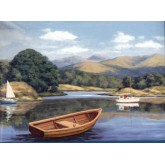 Landscape Lake Brown Boat Wallpaper Border York Wallcoverings