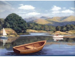 Lake Brown Boat Wallpaper Border