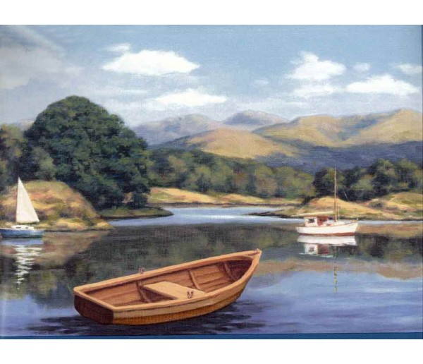 Landscape Lake Brown Boat Wallpaper Border