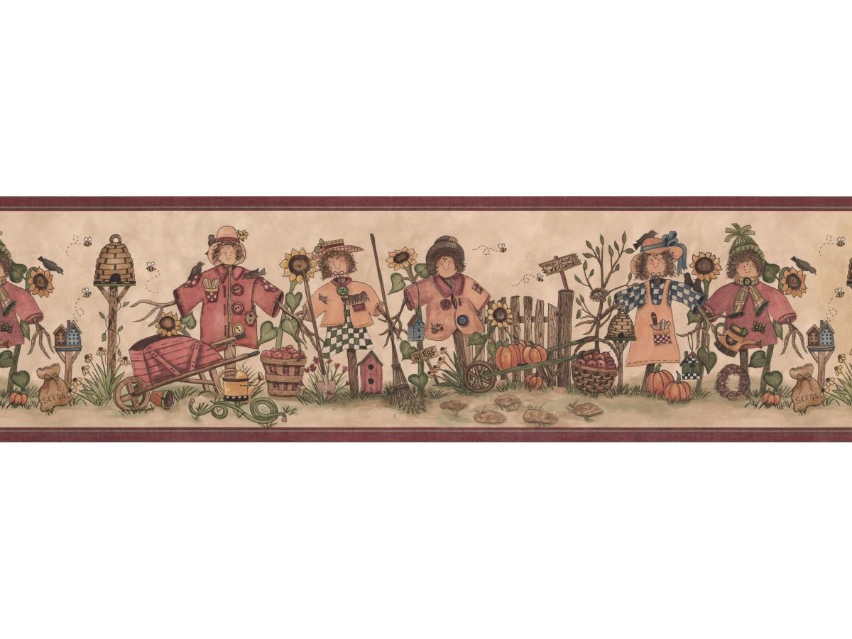 Burgundy Cream Scarecrows Bees Wallpaper Border