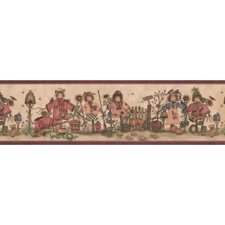 6 2/5 in x 15 ft Prepasted Wallpaper Borders - Burgundy Cream Scarecrows Bees Wall Paper Border