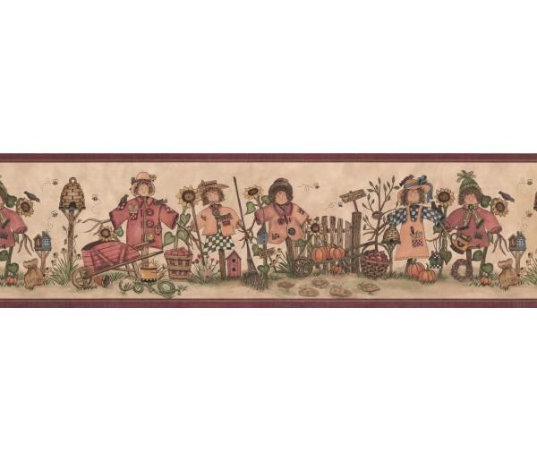 Sunflower Wallpaper Borders: Burgundy Cream Scarecrows Bees Wallpaper Border