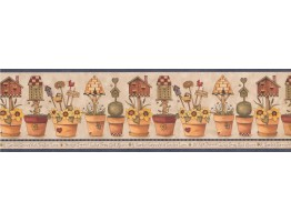 Prepasted Wallpaper Borders - Blue Gardening Wall Paper Border