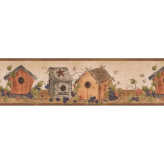 7 in x 15 ft Prepasted Wallpaper Borders - Brown White Bird Houses Wall Paper Border