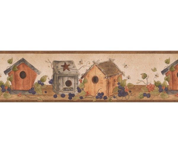 Prepasted Wallpaper Borders - Brown White Bird Houses Wall Paper Border