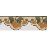 Clearance: Green White Pear Branches Wallpaper Border