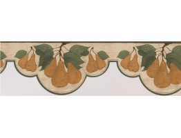 Prepasted Wallpaper Borders - Green White Pear Branches Wall Paper Border
