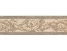 Prepasted Wallpaper Borders - Silver Cream Molding Swirls Wall Paper Border