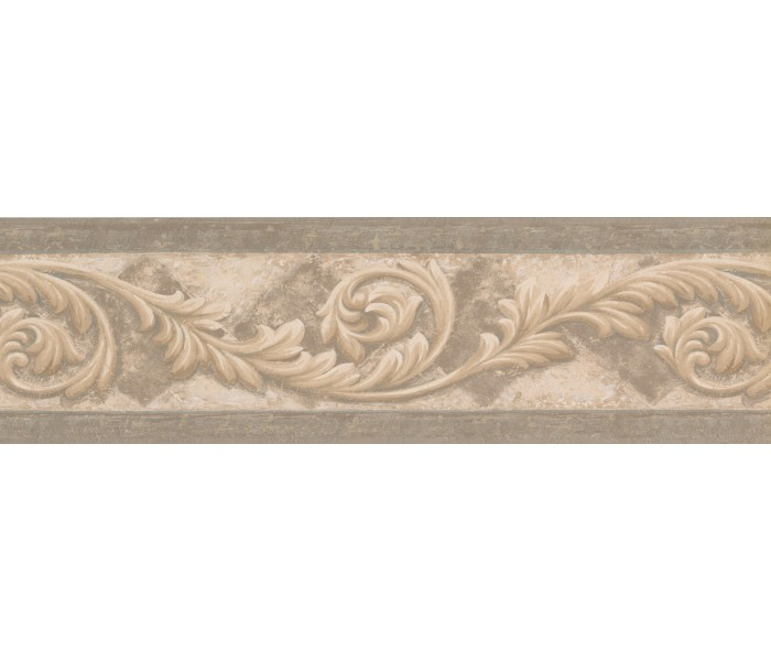 Vintage Wallpaper Borders: Silver Cream Molding Swirls Wallpaper Border