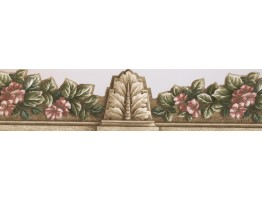 Prepasted Wallpaper Borders - Red Green Floral ArchitecturalWall Paper Border